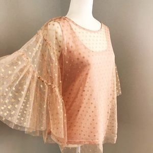 Rose Gold Sheer Polka Dot Blouse